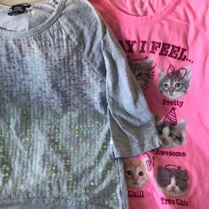 Cat shirt and sequin shirt.